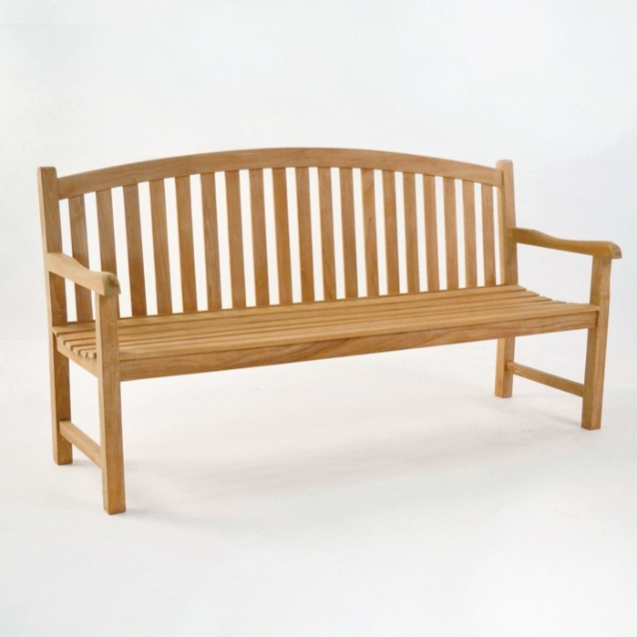 Bowback 3-Seater Teak Outdoor Bench-0