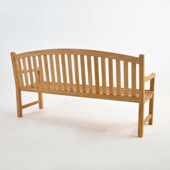 Teak Outdoor Bench bowback 3 seater back view