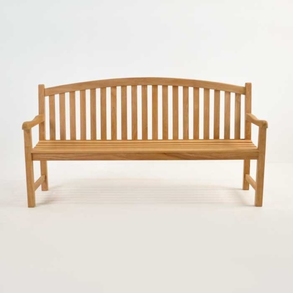 Teak Outdoor Bench bowback 3 seater bench front view