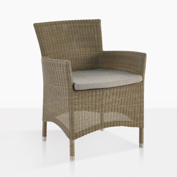 Enna Wicker Dining Arm Chair With Cushion
