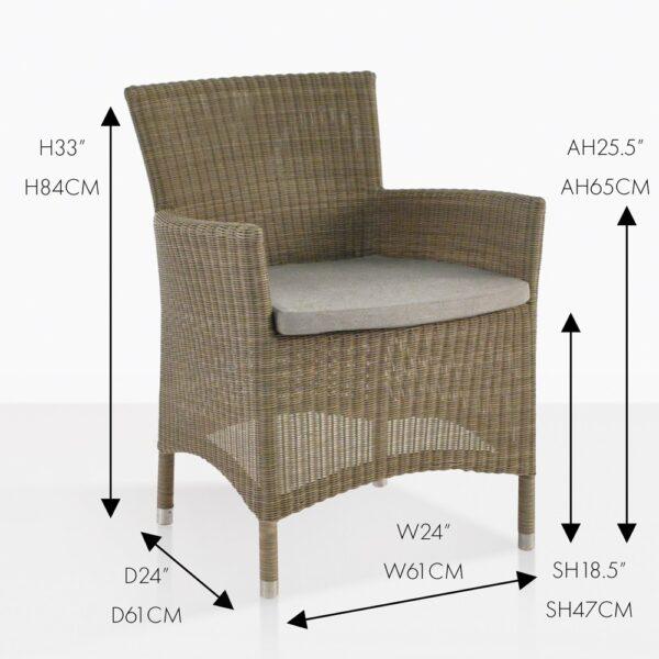 enna side outdoor wicker dining armchair