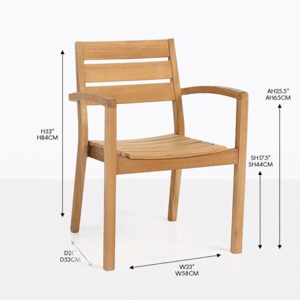 horizon teak wood arm dining chair