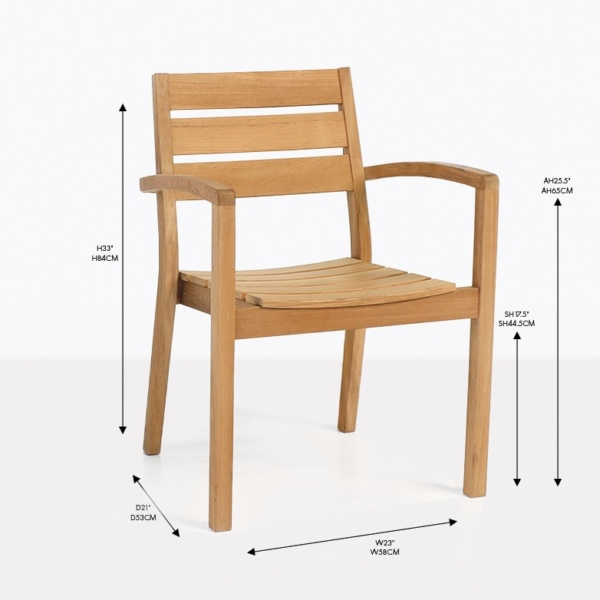 horizon teak dining arm chair