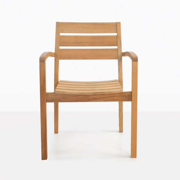 teak outdoor dining chair front view