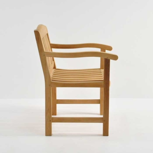 newport teak dining armchair side view
