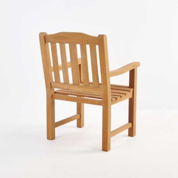 victory teak dining armchair back view