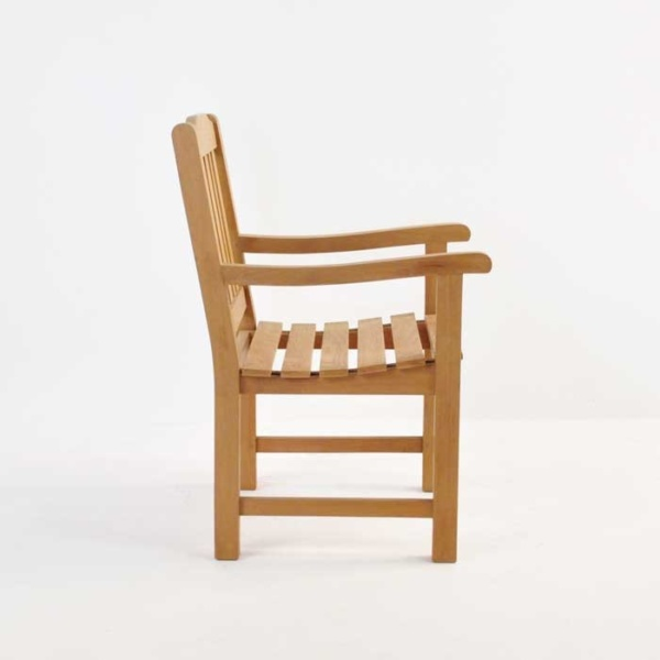 victory teak dining armchair side view