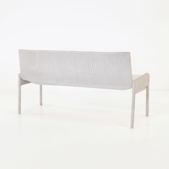 outdoor wicker bench with cushion