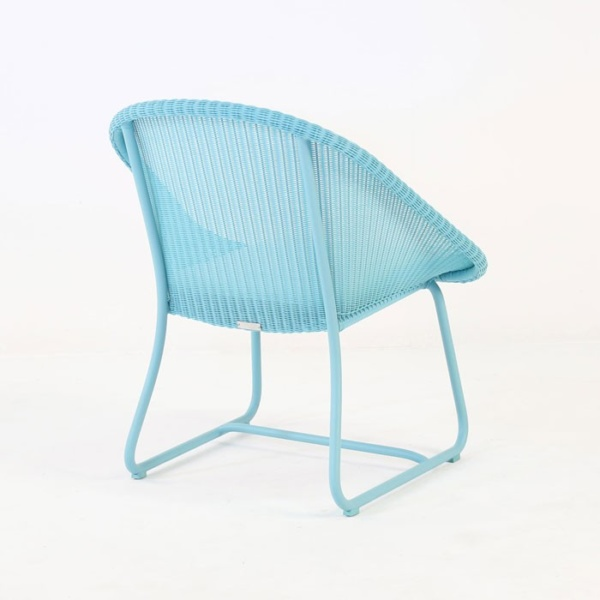 breeze outdoor wicker relaxing chair blue back angle view