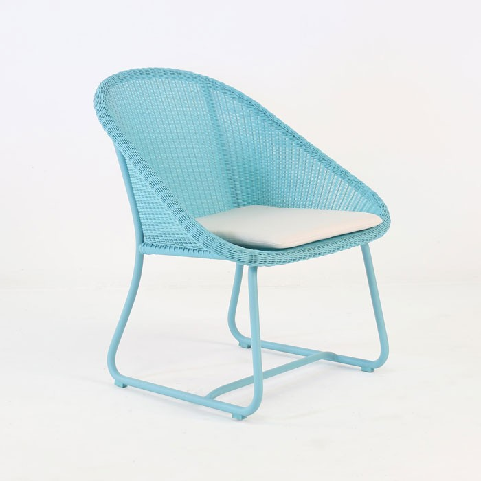 Breeze Outdoor Wicker Relaxing Chair Blue Teak Warehouse