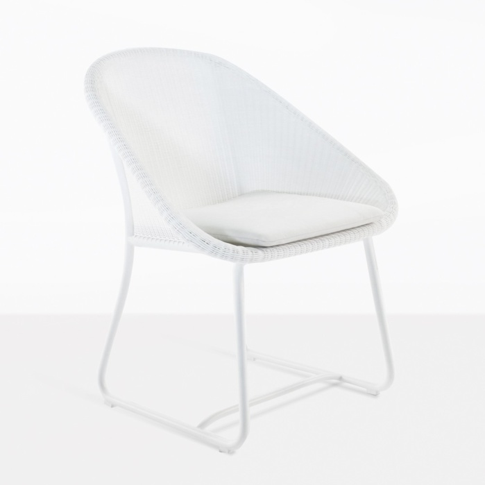 breeze white outdoor front angle dining chair