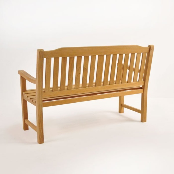 victory teak patio bench 2 seat back view