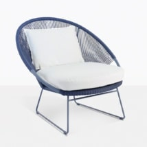 Natalie Blue Relaxing Chair With White Cushions