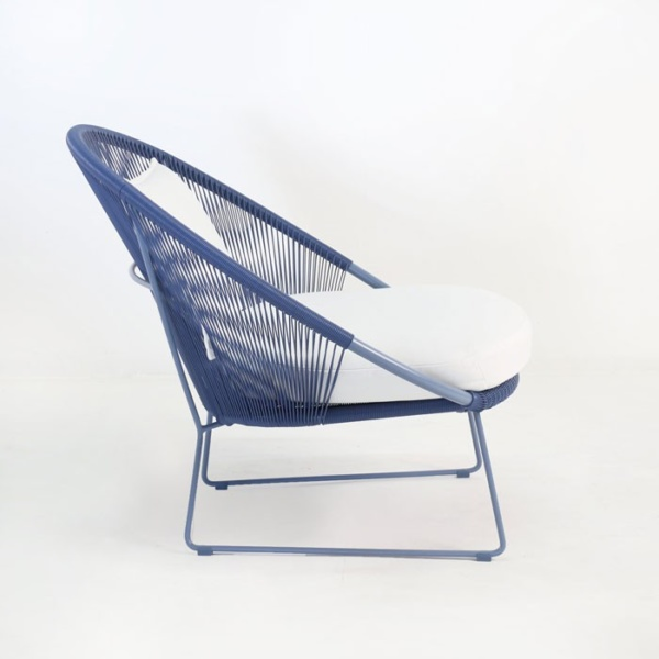 natalie outdoor lounge chair blue side view