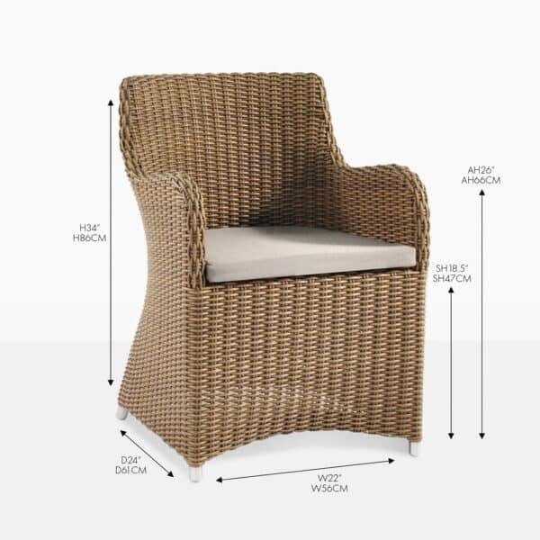 moni wicker sand dining chair