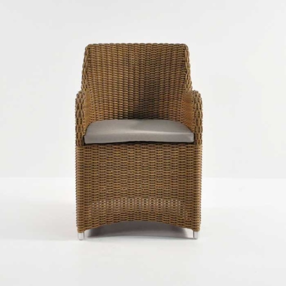 moni wicker dining chair sand with cushion front view
