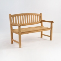 Ovalback Teak 2-Seater Outdoor Bench -0