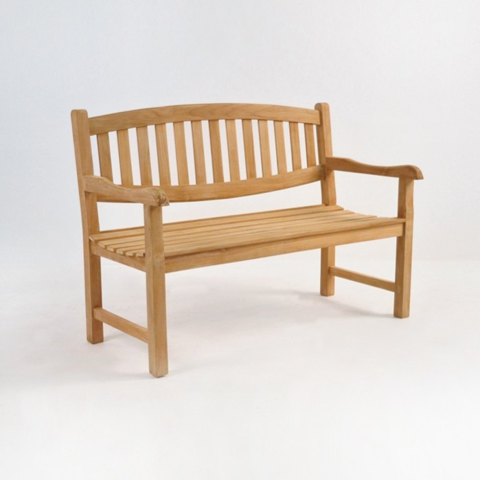 Ovalback Teak 2-Seater Outdoor Bench -0