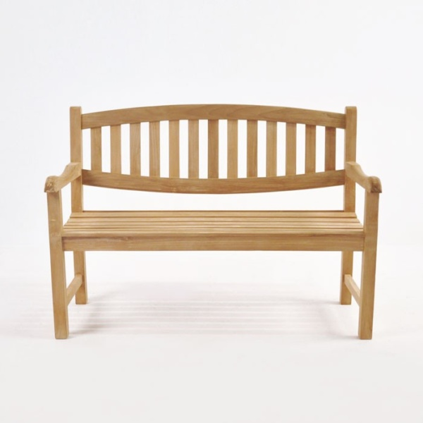 ovalback teak garden bench 2 seat front view