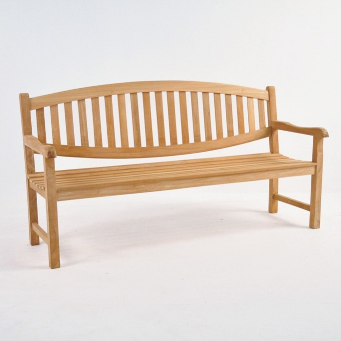 Ovalback Teak 3-Seater Outdoor Bench -0