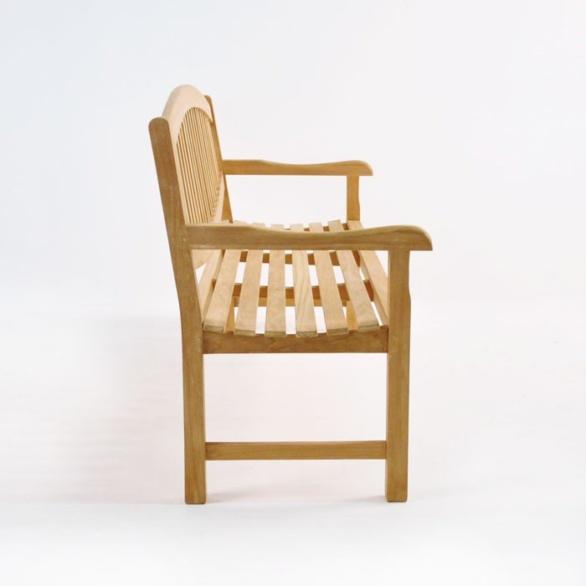 ovalback teak garden bench 3 seat side view