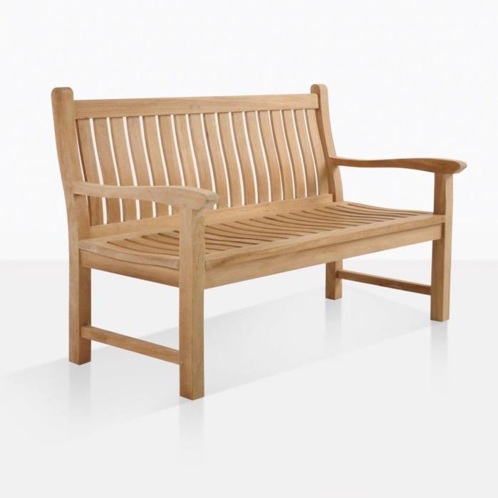 Outstanding Wave Teak Outdoor Bench 2 Seat Machost Co Dining Chair Design Ideas Machostcouk