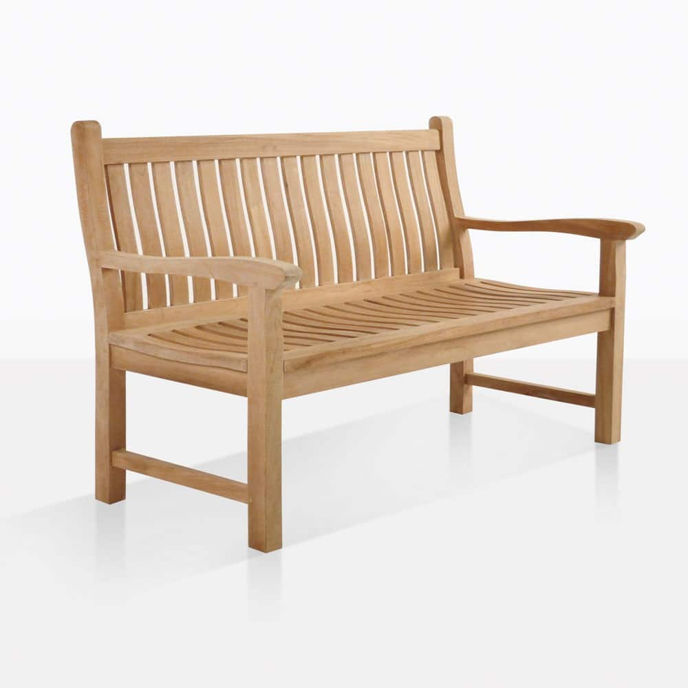 Wave Teak Outdoor Bench 2 Seat