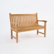 Wave Teak Outdoor Bench (2 Seat)-0
