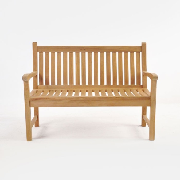 wave teak outdoor bench 2 seat front view