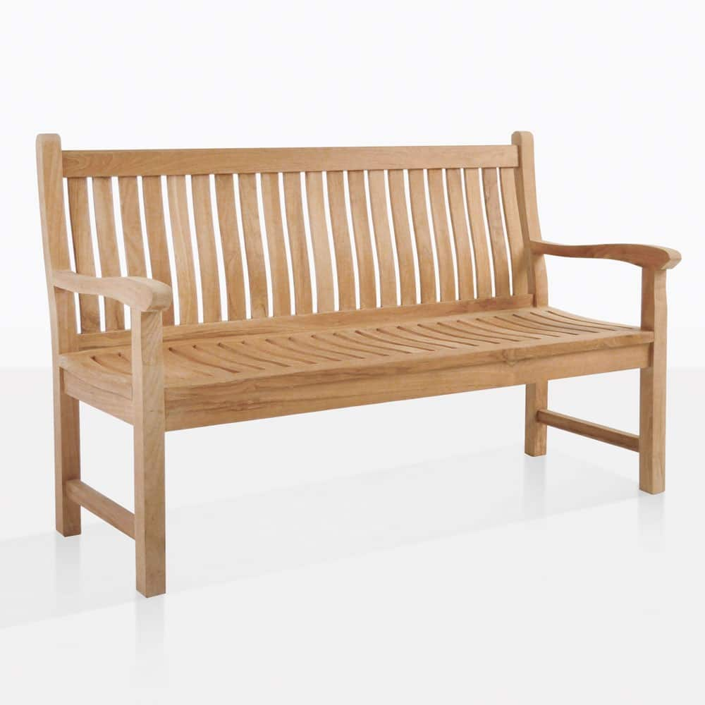 Wave Teak Outdoor Bench 2 5 Seat