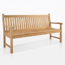 Wave Teak Garden Bench For 3