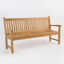 Wave Teak Outdoor Bench (3 Seat)-0