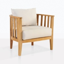 Marine Teak Tub Chair With White Cushions