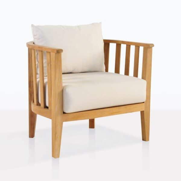 Marine Teak Tub Chair With White Cushions