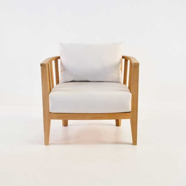 marine teak tub chair front view