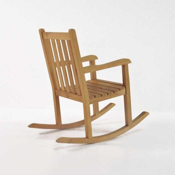 teak rocking chair back angle view