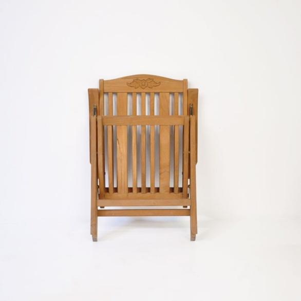 regency teak reclining chair folded view