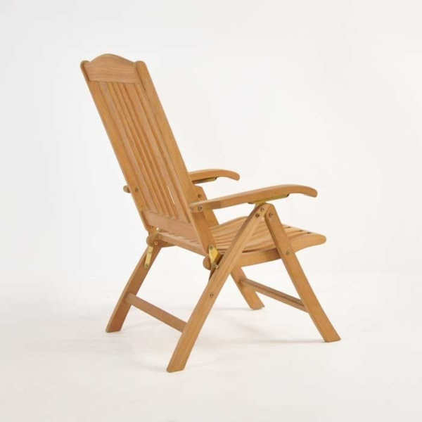 regency teak reclining chair side angle view
