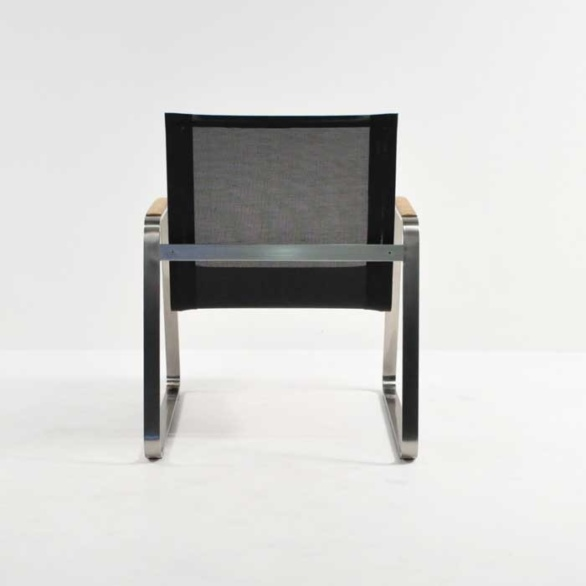 summer stainless steel relaxing chair black back view