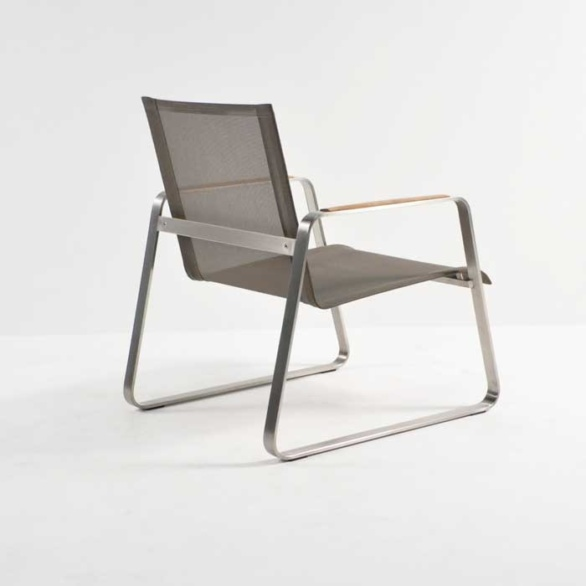 summer stainless steel relaxing chair taupe back angle view