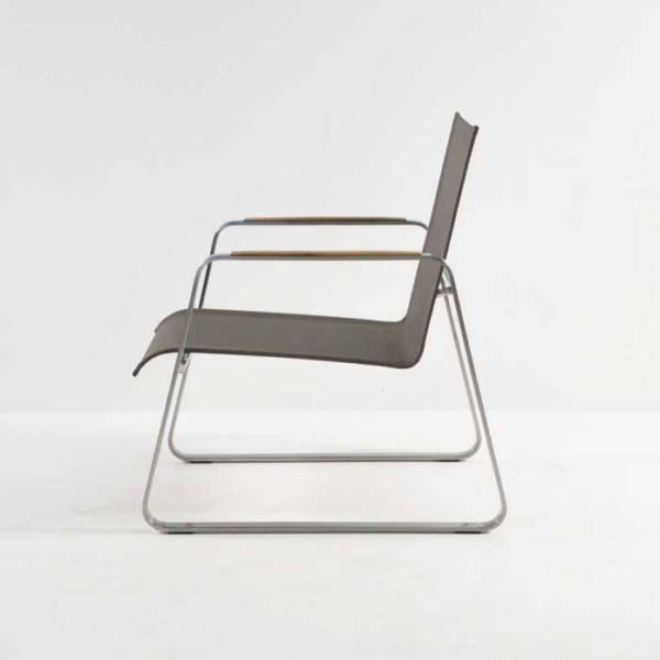 summer stainless steel relaxing chair taupe side view