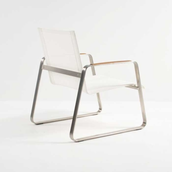 summer stainless steel relaxing chair white back angle view