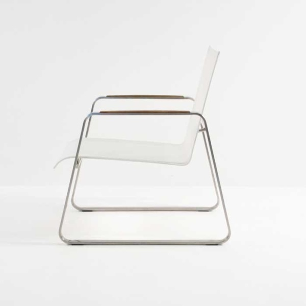 summer stainless steel relaxing chair white side view