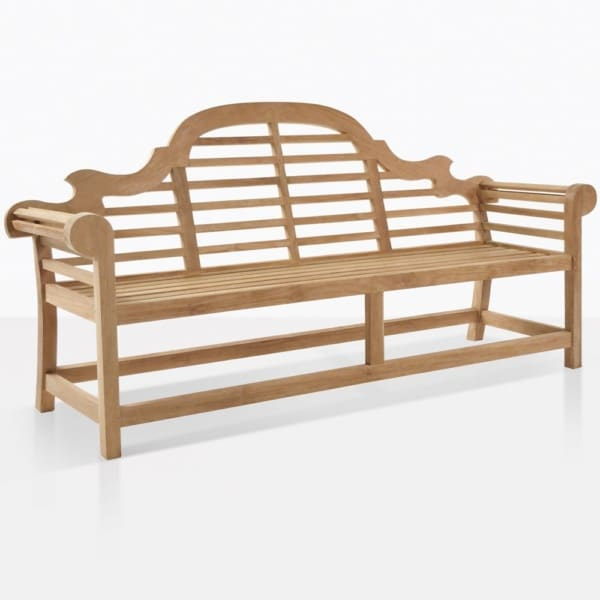 Lutyens 3 seater outdoor teak bench angle