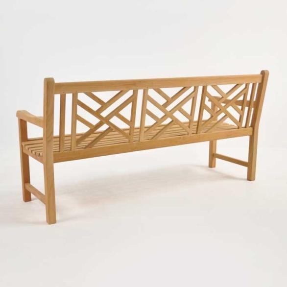 elizabeth teak garden bench 3 seat back view