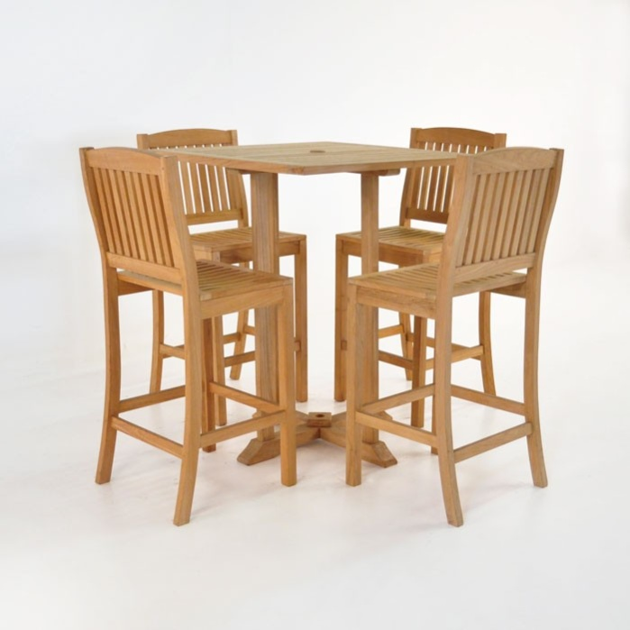 Square Table For 4 Part - 31: Square Bar Table With 4 Verona Chairs Teak Bar Set-0