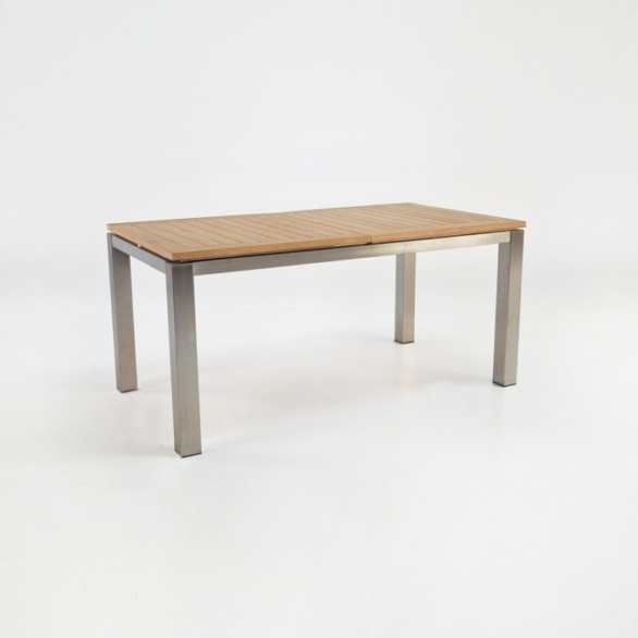 """Stainless Steel and Teak Extension Outdoor Dining Table 58""""-0"""