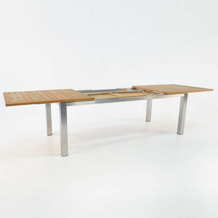 Stainless Steel Teak Extension Outdoor Dining Table