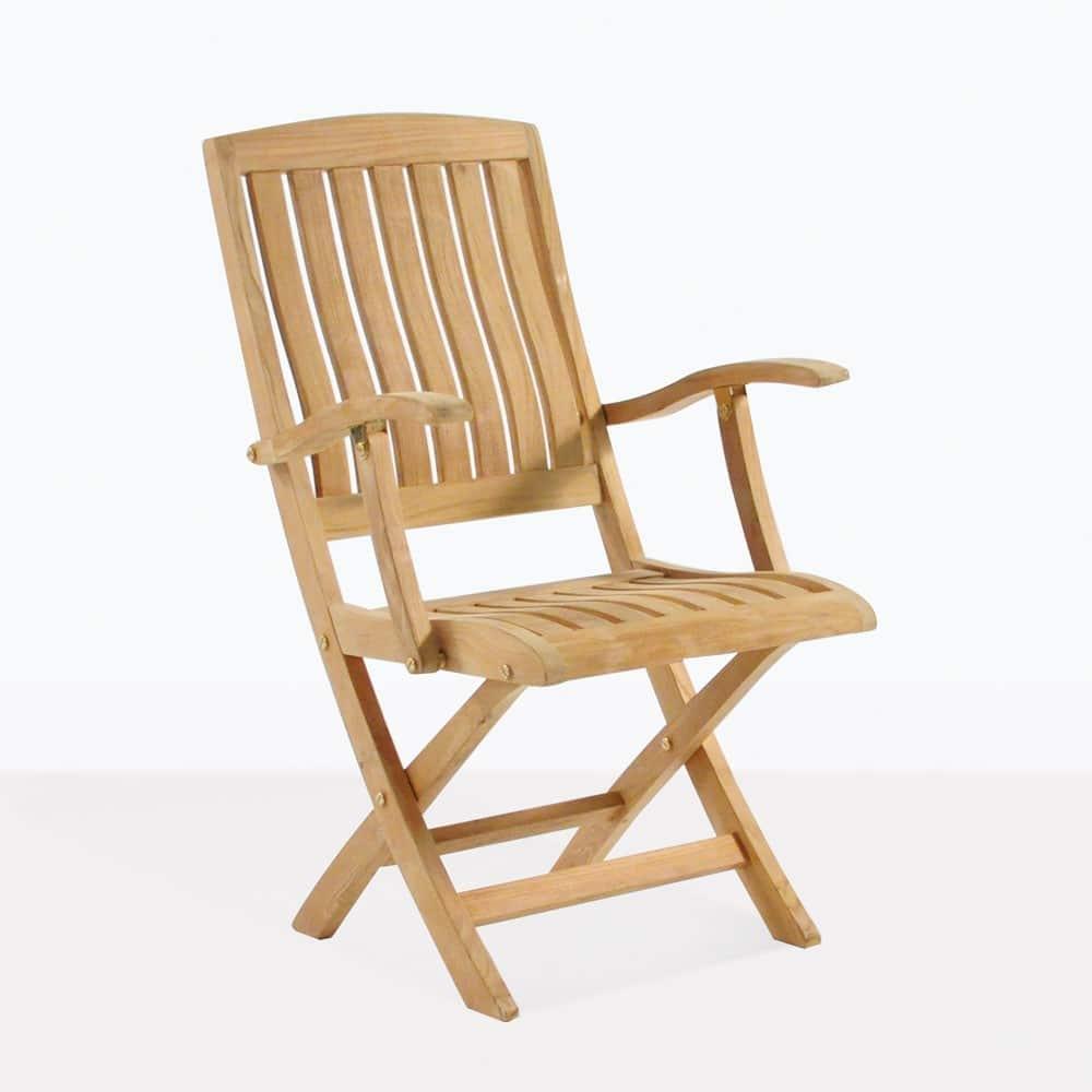 Como Teak Folding Arm Chair Outdoor Dining Patio Seating