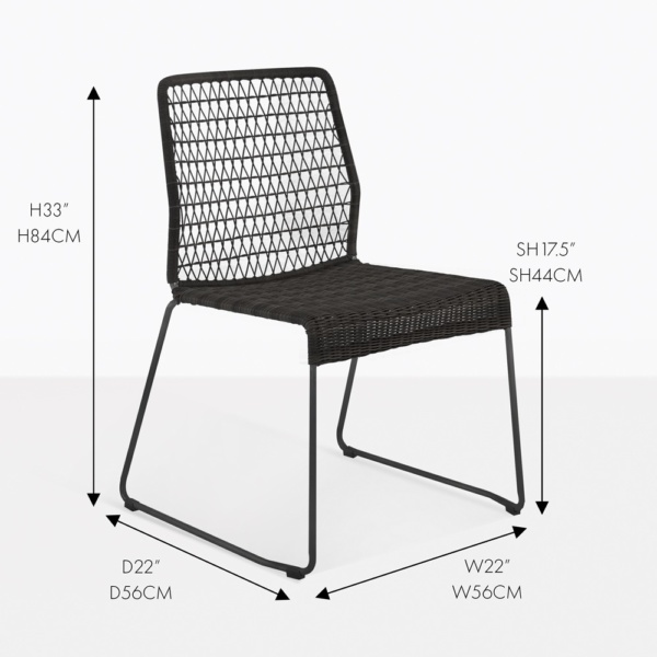 edge wicker dining side chair black